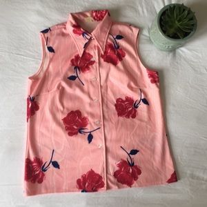 Vintage 1970s Rose Button Down Polyester Tank Top